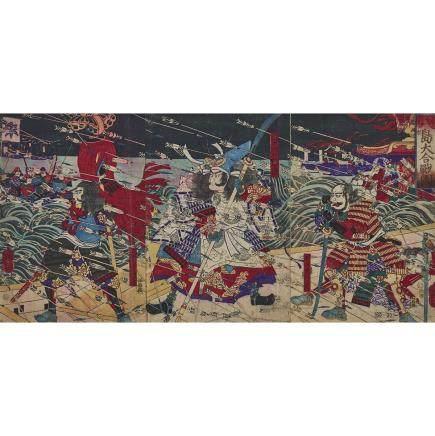 """Tsukioka Yoshitoshi (1839-1892), Battle of Dan-no-ura, 14.2"""" x 9.6"""" — 36 x 24.5 cm. (3 Pieces)"""