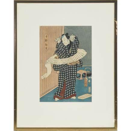 "Utagawa Kunisada (Toyokuni III, 1786-1865), Merchant Hatsuhei, 13.4"" x 9.3"" — 34 x 23.5 cm."