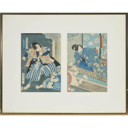 "Utagawa Kunisada II (1823-1880), Kabuki Diptych, each 13.8"" x 9.4"" — 35 x 24 cm."