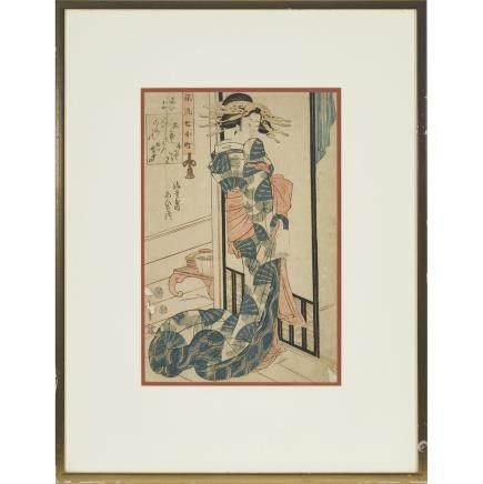 """Kikukawa Eizan (1787-1867), Courtesan of Ebiya, 14.6"""" x 9.6"""" — 37 x 24.5 cm."""