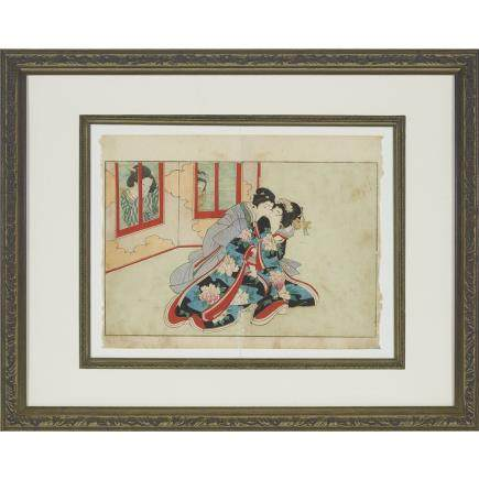 "Toshihide Migata (1862-1925), Shunga, width 11.6"" — 29.5 cm."