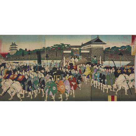 "Toyohara Chikanobu (1838–1912), Official Ceremony at Castle, 13.4"" x 9.1"" — 34 x 23 cm. (3 Pieces)"