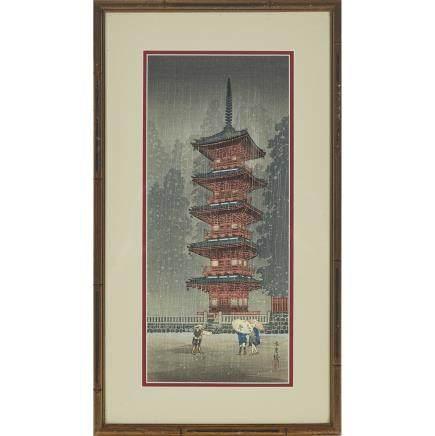 "Shotei Takahashi (1871-1945), Pagoda, length 15"" — 38.1 cm."
