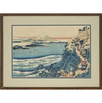 """A Mount Fuji Woodblock Print, 9.8"""" x 14.8"""" — 25 x 37.5 cm."""