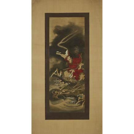 "Japanese Tosa School Painting, 17th/18th Century, 30.3"" x 11.2"" — 77 x 28.5 cm."
