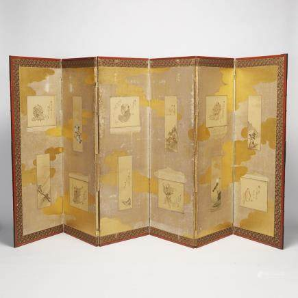 "A Pair of Six-Panel Japanese Paper Screens, Meiji Period, height 55.5"" — 141 cm. (2 Pieces)"