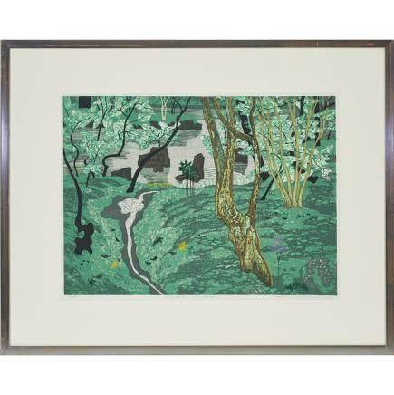 "Fumio Kitaoka (1918-2007), Moss Garden, 15.5"" x 21.3"" — 39.4 x 54 cm."