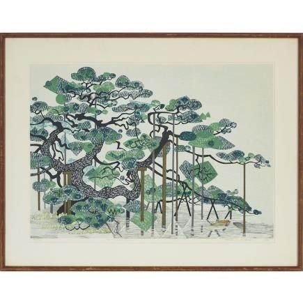 "Fumio Kitaoka (1918-2007), Pine Tree, 16"" x 22"" — 40.6 x 55.9 cm."