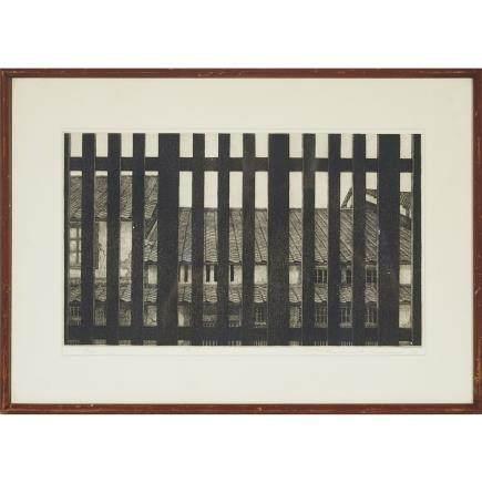 "Tanaka Ryohei (1933-), Houses Behind a Window, 9.1"" x 15.4"" — 23 x 39 cm."