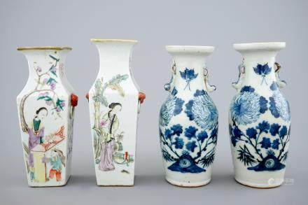 Four Chinese qianjiang cai and blue and white vases, 19/20th C.