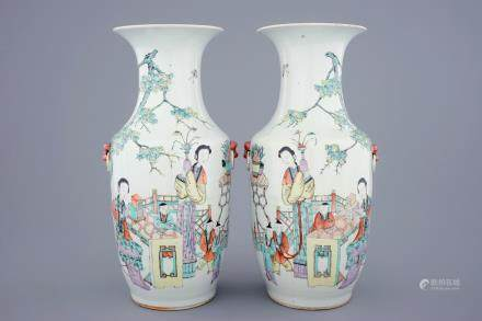 A pair of Chinese qianjiang cai vases with ladies and children, 19/20th C.