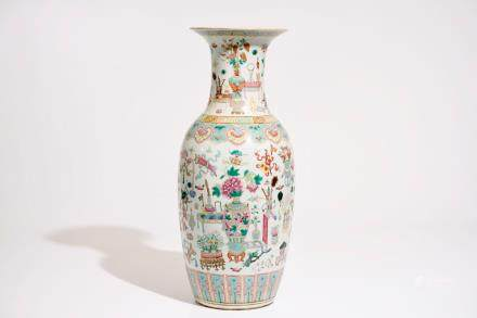 "A Chinese famille rose vase with ""100 antiquities"" design, 19th C."
