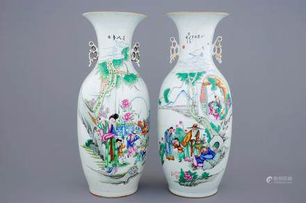 Two Chinese famille rose vases with figures and playing children, 19/20th C.
