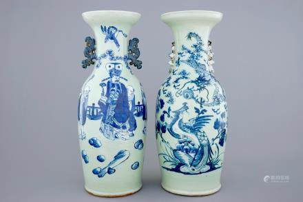 Two Chinese vases with blue and white design on celadon ground, 19th C.