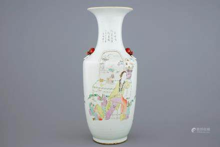 A Chinese mixed qianjiang cai and famille rose vase, 19/20th C.