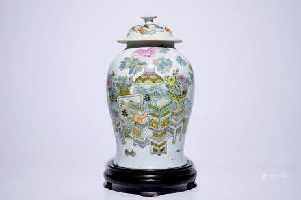 "A Chinese qianjiang cai vase and cover with ""100 antiquities"" design, 19/20th C."
