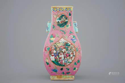 A Chinese famille rose fang hu vase, 19th C.