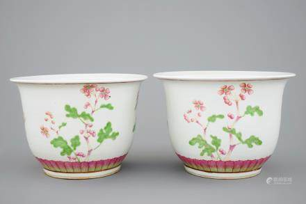 A pair of Chinese famille rose flower pots, 19th C.