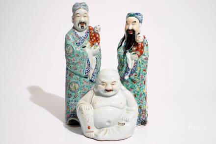 Two Chinese famille rose figures of immortals and a white-glazed model of Buddha, 19/20th C.