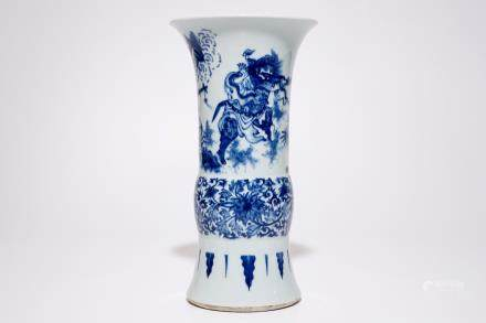 A Chinese blue and white gu vase in the Transitional style, 19/20th C.