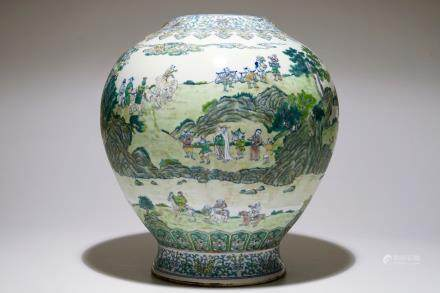 A large Chinese doucai landscape vase, Qianlong mark, 19/20th C.