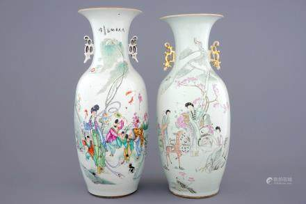 Two Chinese famille rose vases with ladies and children in a garden, 19/20th C.