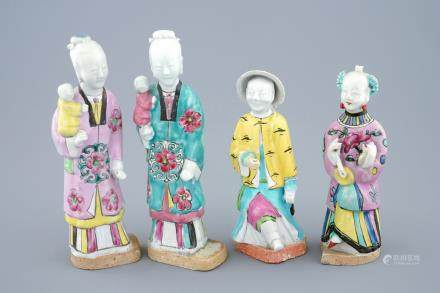 A set of four Chinese famille rose figures, 18/19th C.