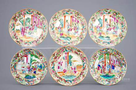 A set of six Chinese Canton famille rose medallion plates, 19th C.