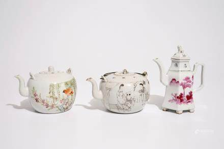 Two Chinese qianjiang cai teapots and a wine jug, 19/20th C.