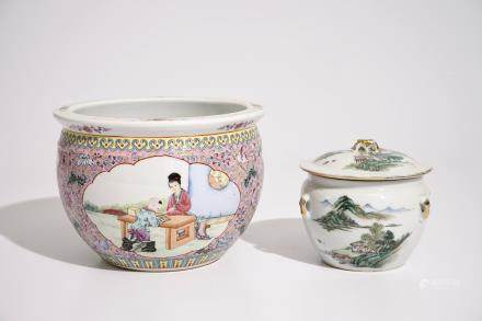 A Chinese qianjiang cai food bowl and cover and a famille rose flowerpot, 19/20th C.