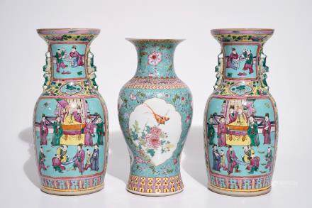 A pair of Chinese famille rose on turquoise ground vases, 19th C., and a vase with Qianlong mark, 20th C.