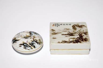 Two Chinese qianjiang cai seal paste boxes and covers, 19/20th C.