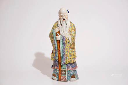 A tall Chinese famille rose figure of Shou Lao, 19th C.