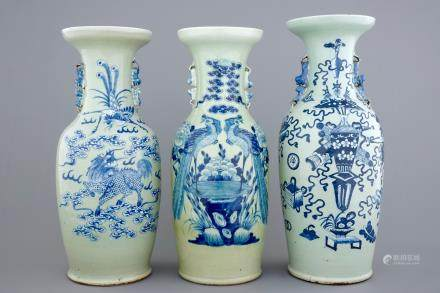Three tall Chinese blue and white on celadon ground vases, 19th C.
