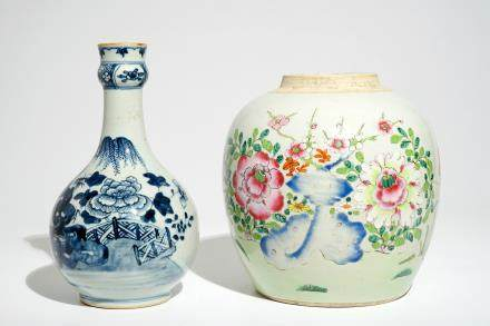 A Chinese famille rose ginger jar and a blue and white bottle vase, Qianlong/Jiaqing