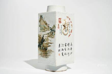 A Chinese square qianjiang cai vase with landscape designs, 20th C.