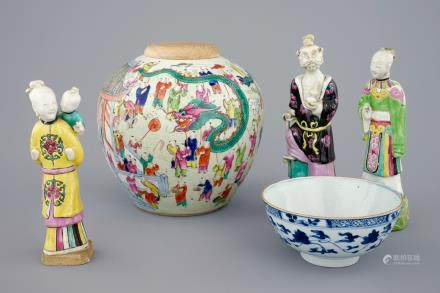 Three Chinese famille rose figures, a ginger jar and a blue and white lotus bowl, 18/19th C.
