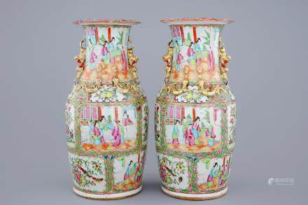 A pair of Chinese Canton rose medallion vases, 19th C.