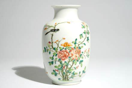 A Chinese famille rose lantern-shaped vase, Hongxian mark and poss. of the period, early 20th C.