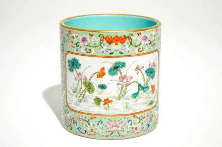 A Chinese turquoise ground enamelled brush pot, Qianlong mark, 20th C.