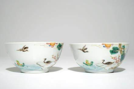 A pair of Chinese famille rose bowls, Guangxu mark, 20th C.