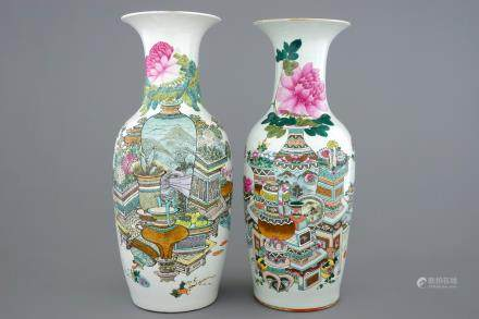 Two Chinese vases with qianjiang cai design of precious objects, 19/20th C.
