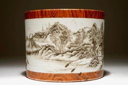 A Chinese grisaille and faux bois brush pot, Qianlong mark, 20th C.
