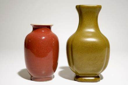 A Chinese tea-dust-glazed vase and a liver-red glazed vase, 20th C.