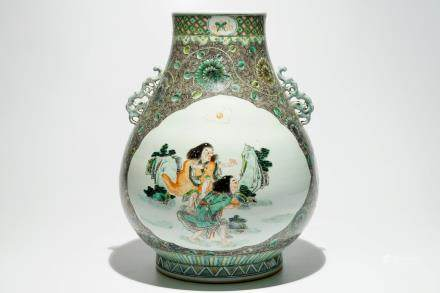 "A large Chinese famille verte ""HeHe Er Xian"" hu vase, 19/20th C."