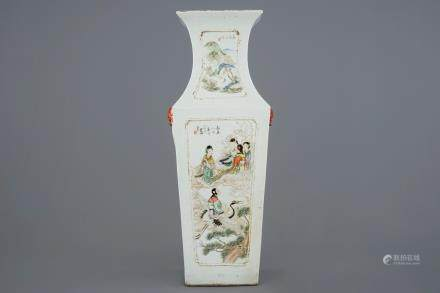 A rectangular Chinese qianjiang cai vase with immortals and landscapes, 19/20th C.