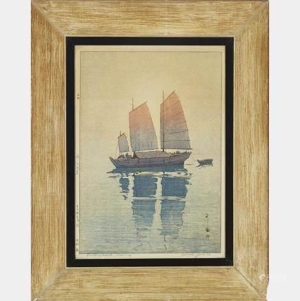 """Hiroshi Yoshida (1876-1950), Sailing Boats, 20.1"""" x 14.2"""" — 51 x 36 cm."""