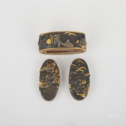 "A Fuchi and Two Kashira, Meiji Period, longest length 1.5"" — 3.8 cm. (3 Pieces)"