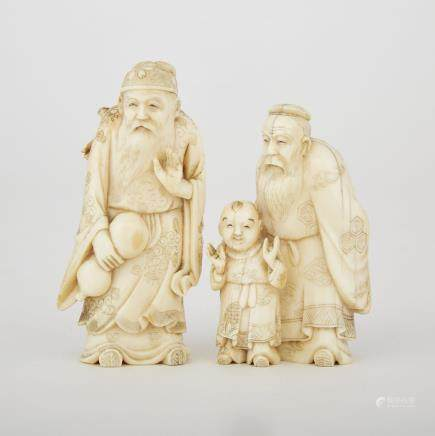 "Two Carved Ivory Okimono, Meiji Period, tallest height 3.5"" — 8.9 cm. (3 Pieces)"