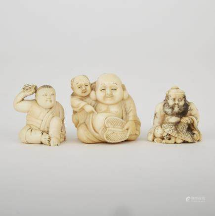 "Three Carved Ivory Netsuke, Meiji Period, tallest height 1.6"" — 4 cm. (3 Pieces)"